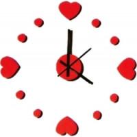 Nalepovacie nástenné hodiny, Srdce 3d diy, červené, 50-70cm