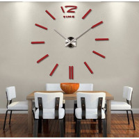 3D Nalepovacie hodiny DIY Clock BIG Time, červené 90-130cm