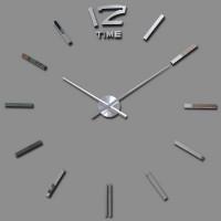 3D Nalepovacie hodiny DIY Clock BIG Time XL, Silver 90-130cm