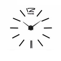 3D Nalepovacie hodiny DIY Clock 12 Time Black 80-120cm