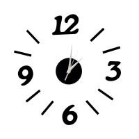 Nalepovacie nástenné hodiny, DIY d3 mini, čierne, 60cm