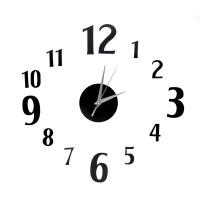 Nalepovacie nástenné hodiny, DIY d4 mini, čierne, 60cm