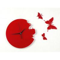 Nástenné hodiny BUTTERFLY DIY, červené