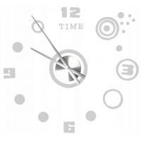 3D Nalepovacie hodiny DIY Clock, Circle strieborné  80cm