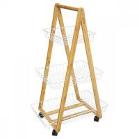 Bambusový vozík trojposchodový 5Five 682A, biely