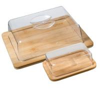 Bambusová doska na syr s poklopom + dóza na maslo 5Five 9271
