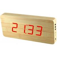 Digitálny LED budík/ hodiny MPM s dátumom a teplomerom 3672.51, red led, 25cm