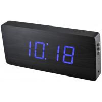 Digitálny LED budík/ hodiny MPM s dátumom a teplomerom 3672, blue led, 25cm