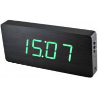 Digitálny LED budík/ hodiny MPM s dátumom a teplomerom 3672.90, green led, 25cm