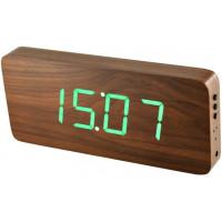 Digitálny LED budík/ hodiny MPM s dátumom a teplomerom 3672.50, green led, 25cm