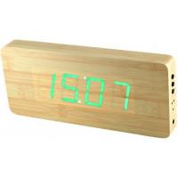 Digitálny LED budík/ hodiny MPM s dátumom a teplomerom 3672.51, green led, 25cm