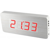 Digitálny LED budík/ hodiny MPM s dátumom a teplomerom 3672.00, red led, 25cm