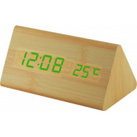 Digitálny LED budík MPM s dátumom a teplomerom C02.3570.51 GREEN, 15cm
