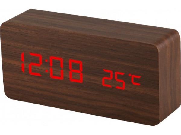 Digitálny LED budík s dátumom a teplomerom EuB8466 RED BROWN, 15cm