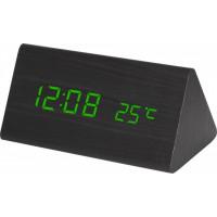 Digitálny LED budík MPM s dátumom a teplomerom C02.3570.90 GREEN, 15cm