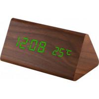 Digitálny LED budík MPM s dátumom a teplomerom C02.3570.50 GREEN, 15cm