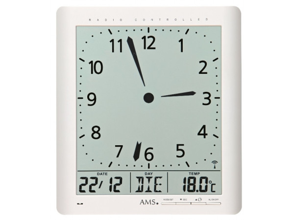Digitálne nástenné aj stolové hodiny 5896 AMS riadené rádiovým signálom 24cm