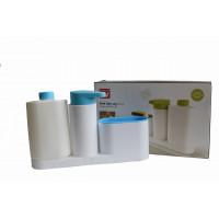 Kuchynský organizér s dávkovačom na mydlo a fľašou, bielomodrý