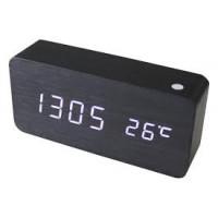Digitálny LED budík s dátumom a teplomerom GoT6035 White Led, BLACK, 15cm