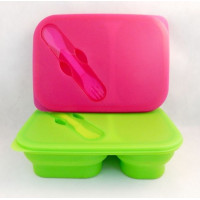 Silikónový skladací lunchbox s príborom Eub