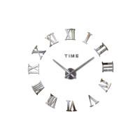 3D Nalepovacie hodiny DIY Clock Roma C2, strieborné 90-130cm