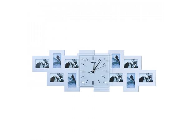 Nástenné hodiny Big Photo, strieborné 80cm
