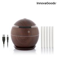 Mini zvlhčovač aróma difúzor InnovaGoods tmavý orech IN1198