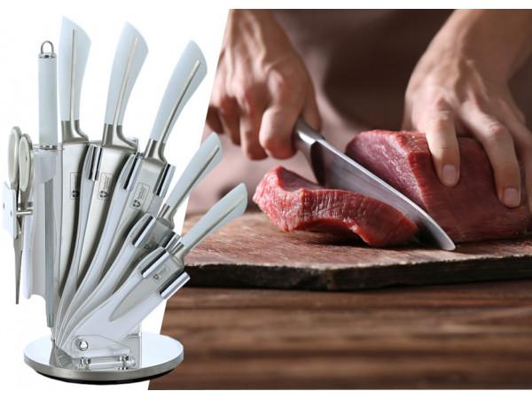 8-dielna sada oceľových nožov, nožníc a ocieľky RL-KSS750