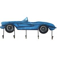 Kovový nástenný vešiak, modré auto, 60x23x7cm