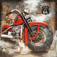 Kovový obraz ART 100x100cm Motorka 0374
