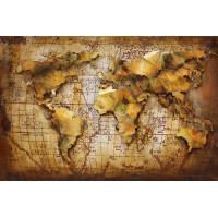 Kovový obraz ART 120x80 Mapa sveta 0408