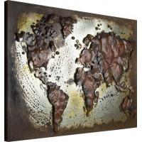 Kovový obraz ART Mapa sveta T120255, 120x80