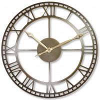 Nástenné kovové hodiny Vintage Retro staré zlato Flex z21a, 50 cm