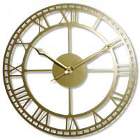 Nástenné kovové hodiny Vintage Retro zlato Flex z21a, 50 cm