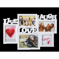 Biely fotorámik Live-Laugh-Love, 46x32cm RD9999
