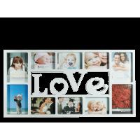 Fotorám Love na 10 fotiek, biely, rd1856, 73x37cm