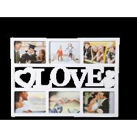 Fotorám Love na 6 fotiek, biely, gm 2432, 48x33cm