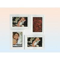 Elegantný fotorámik na 4 fotky, biely