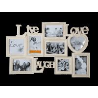 Krémový fotorámik Live-Laugh-Love, 65x40cm