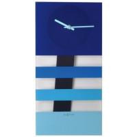 Bold Stripes kyvadlové nástenné hodiny Nextime modré 38x19cm