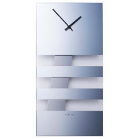 Dizajnové nástenné kyvadlové hodiny 2855 Nextime Bold Stripes silver 38x19cm