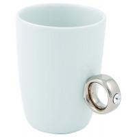 Hrnček s prsteňom FRED Ring Cup, biely / strieborný