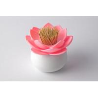 Stojanček na špáradlá Qualy Lotus Toothpick Holder, biely-ružový