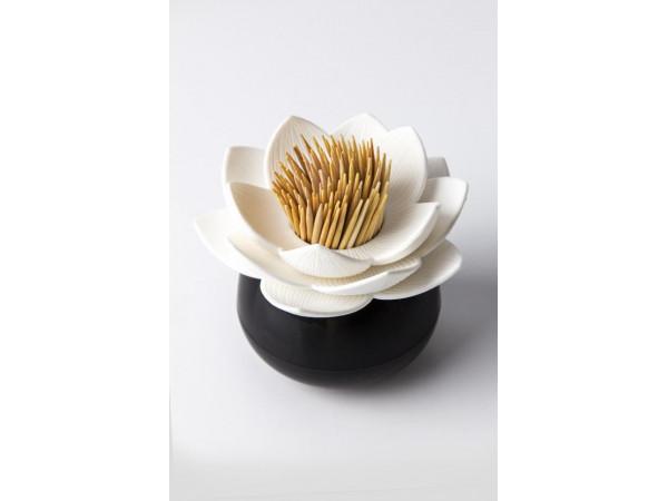 Stojanček na špáradlá Qualy Lotus Toothpick Holder, čierny-biely