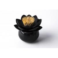 Stojanček na špáradlá Qualy Lotus Toothpick Holder, čierny-čierny