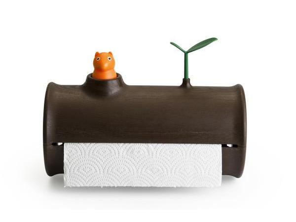 Stojan na papierové utierky Qualy Log & Roll, hnedý