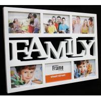 Fotorám na 6 fotiek, Family biely, 48x35cm