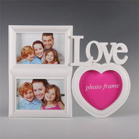 Fotorám na na 3 fotky Love, biely, 34x26cm