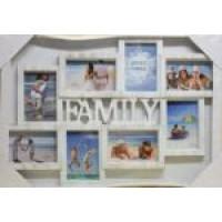 Fotorám Family na 8 fotiek biela patina, 62x43cm
