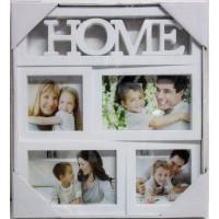 Fotorám na 4 fotky HOME, biely